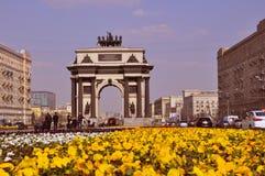 在库图佐夫大道的凯旋门在莫斯科 免版税库存图片