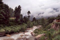 在库尔卢镇,印度附近的库尔卢谷 免版税图库摄影
