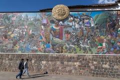 在库斯科,秘鲁街道的印加人绘画  免版税库存照片