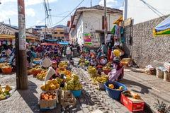 在库斯科,秘鲁steets的水果市场  免版税库存图片