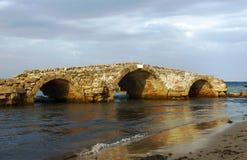 在废墟的老桥梁, Zakynthos海岛 库存图片