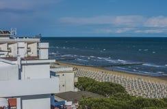 在度假在Lido二耶索洛(对海滩的看法的) 库存照片