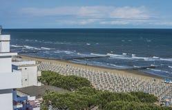 在度假在Lido二耶索洛(对海滩的看法的) 免版税库存照片