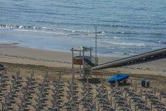 在度假在Lido二耶索洛(对海滩的看法的) 库存图片