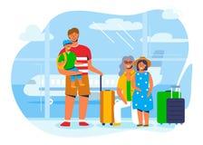 在度假或旅行的家庭字符在等待的机场上在飞机 带着手提箱的旅游人 皇族释放例证