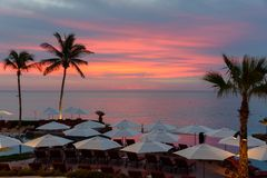 在度假村的日出在Cabo圣卢卡斯,墨西哥 免版税库存图片