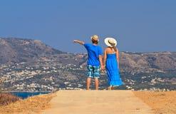 在度假的夫妇在希腊 免版税库存照片