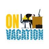 在度假 放松时间 商人和游泳圆环鸭子 马娜 向量例证