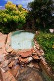 在庭院旁边向游泳池扔石头, 免版税库存图片