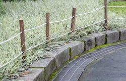 在庭院旁边的绳索和木头篱芭 免版税库存图片