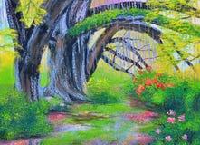 在庭院油画的大榕树在帆布 库存照片