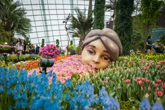 在庭院由海湾,新加坡的花圆顶 图库摄影