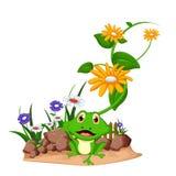 在庭院的愉快的青蛙动画片 免版税库存照片