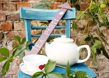 在庭院的茶会 免版税库存图片