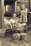 在庭院里供以人员和有蔬菜的二名妇女 免版税库存图片