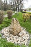 在庭院里向安排扔石头 库存图片