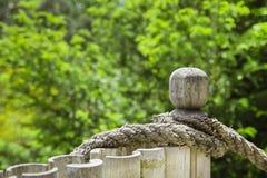 在庭院里打结在篱芭的绳索 绿色背景 库存照片