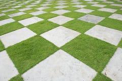 在庭院,在绿草的大理石块里放牧瓦片,美丽的草瓦片 选择聚焦 免版税库存照片