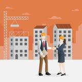 在建筑业的成功的合作 库存例证