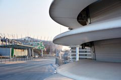 在建筑学的抽象线 现代结构的详细资料 图库摄影