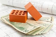 在建筑计划的砖 免版税图库摄影