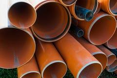 在建造场所的Pvc管子 免版税库存照片