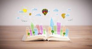 在开放书的都市风景图画 库存图片