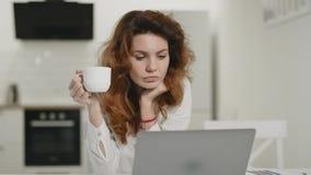 在开放厨房的被聚焦的妇女运转的膝上型计算机 少女饮用的咖啡 股票视频