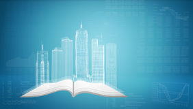 在开放空的书的发光的导线框架大厦 库存照片