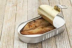 在开放罐头的鲱鱼 免版税库存照片