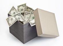 在开放配件箱的美金 库存图片