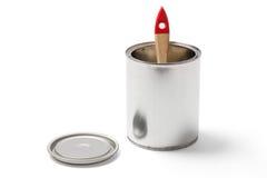 在开放锡罐的油漆刷与裁减路线 免版税库存图片