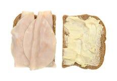 在开放麦子的面包的火鸡胸脯三明治 免版税库存照片