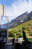 在开普敦,南非制表与缆车的山景 库存照片