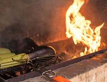 在开火烘烤的菜 免版税图库摄影