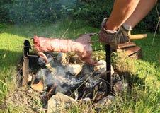 在开火烹调的兔子 库存图片