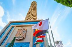 在开罗塔,埃及的旗子 免版税图库摄影