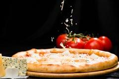 在开胃意大利乳酪薄饼的选择聚焦与mozzarel 免版税图库摄影