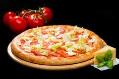 在开胃意大利薄饼乳酪,被切的tomat的选择聚焦 库存图片