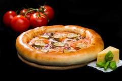 在开胃意大利薄饼的选择聚焦用肉,乳酪, s 库存图片