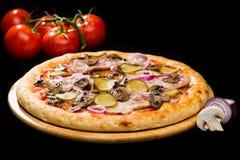 在开胃意大利薄饼的选择聚焦用葱,蘑菇 免版税库存图片