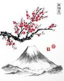 在开花和Fujiyama山的东方佐仓樱桃树在白色背景 包含象形文字-禅宗,自由 免版税库存图片
