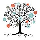 在开花的传染媒介树 免版税图库摄影