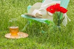 在开花的庭院里放松在一个晴天 免版税图库摄影