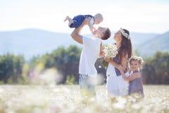 在开花的雏菊的领域的愉快的家庭 免版税库存图片