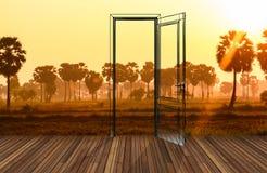 在开门后的风景, 3D 免版税图库摄影