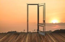 在开门后的风景, 3D 库存图片