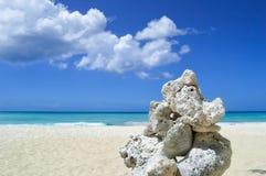在异乎寻常的加勒比海滩的岩层 图库摄影