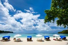 在异乎寻常的海岛的美丽的热带海滩 免版税图库摄影