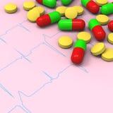 在异常心电图(ECG)报表的药片和胶囊 库存照片